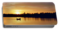 Fishermen On A Lake At Sunset Portable Battery Charger