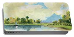 Fishing Lake Portable Battery Charger by Alban Dizdari