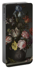 Flowers In A Vase With Shells And Insects Portable Battery Charger