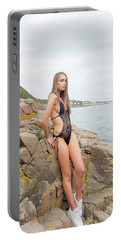 Girl In Black Swimsuit Portable Battery Charger