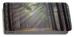 God Beams - Coniferous Forest In Fog Portable Battery Charger