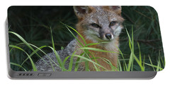 Gray Fox In The Grass Portable Battery Charger