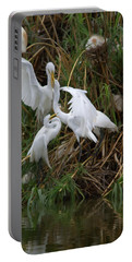 Great Egret Feeding Their Young - Digitalart Portable Battery Charger