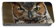 Great Horned Owl Portable Battery Charger by John Black