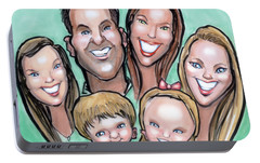 Portable Battery Charger featuring the digital art Group Caricature by Kevin Middleton