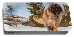 Happy Leonberger Winter Trail Running Portable Battery Charger