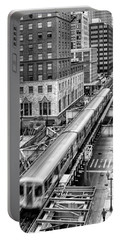 Historic Chicago El Train Black And White Portable Battery Charger