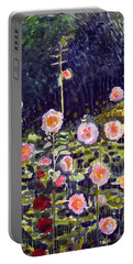 Hollyhocks Portable Battery Charger by Katherine Miller