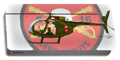 Portable Battery Charger featuring the digital art Hughes Oh-6a Cayuse Miss Clawd Iv by Arthur Eggers