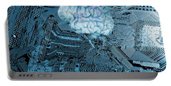 Human Brain And Communication Portable Battery Charger