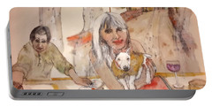 Portable Battery Charger featuring the painting Italy Love Life And  Linguini Album by Debbi Saccomanno Chan