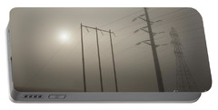 Large Transmission Towers In Fog Portable Battery Charger