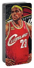Lebron James Portable Battery Charger by Taylan Apukovska