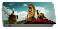 Portable Battery Charger featuring the photograph Lhasa Jokhang Temple Fragment Tibet Artmif.lv by Raimond Klavins