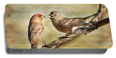 2 Little Love Birds Portable Battery Charger by Barbara Manis