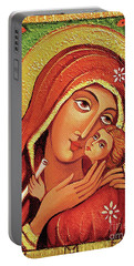 Portable Battery Charger featuring the painting Madonna And Child by Eva Campbell