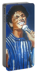 Portable Battery Charger featuring the painting Michael Jackson by Rachel Natalie Rawlins