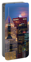 Portable Battery Charger featuring the photograph Moon Over Pittsburgh 2 by Emmanuel Panagiotakis