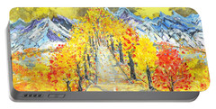 Portable Battery Charger featuring the painting On The Road by Evelina Popilian