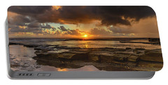 Overcast And Cloudy Sunrise Seascape Portable Battery Charger