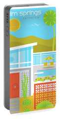 Palm Springs Retro Travel Poster Portable Battery Charger