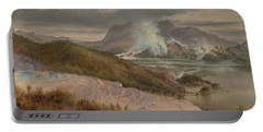 Portable Battery Charger featuring the painting Pink Terraces by Charles Blomfield