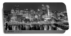 Pittsburgh Pennsylvania Skyline At Night Panorama Portable Battery Charger