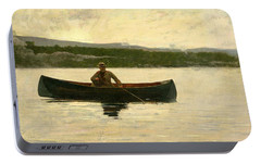 Portable Battery Charger featuring the painting Playing A Fish by Winslow Homer