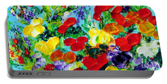 Portable Battery Charger featuring the painting Poppies by Teresa Wegrzyn
