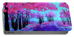 Purple Magenta, Forest, Modern Impressionist, Palette Knife Painting Portable Battery Charger