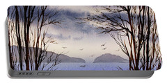 Portable Battery Charger featuring the painting Quiet Shore by James Williamson