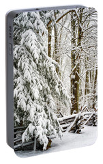 Portable Battery Charger featuring the photograph Rail Fence And Snow by Thomas R Fletcher