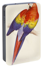 Red And Yellow Macaw Portable Battery Charger by Edward Lear