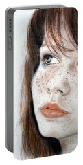 Portable Battery Charger featuring the pastel Red Hair And Freckled Beauty by Jim Fitzpatrick