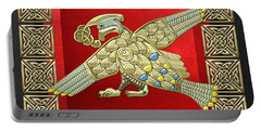 Sacred Celtic Bird On Red And Black Portable Battery Charger
