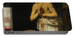 Portable Battery Charger featuring the painting Saint Dominic In Penitence by Filippo Tarchiani