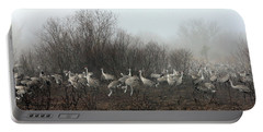 Sandhill Cranes And The Fog Portable Battery Charger