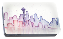 Seattle Skyline Watercolor Portable Battery Charger by Olga Shvartsur
