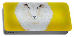 Sheep Painting On Yellow Background Portable Battery Charger