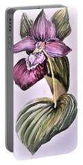 Portable Battery Charger featuring the painting Slipper Foot Orchid by Mindy Newman