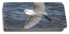 Snowy Egret Flying Portable Battery Charger
