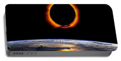 Portable Battery Charger featuring the painting Solar Eclipse From Above The Earth by Adam Asar