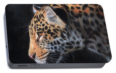 Portable Battery Charger featuring the painting South American Jaguar by David Stribbling