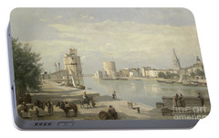 The Harbor Of La Rochelle Portable Battery Charger by Jean Baptiste Camille Corot