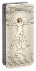 The Proportions Of The Human Figure Portable Battery Charger by Leonardo Da Vinci