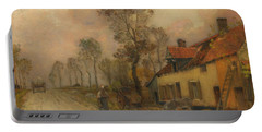 Portable Battery Charger featuring the painting The Route Nationale At Samer by Jean-Charles Cazin