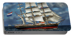 Three Mast Schooner Portable Battery Charger by Anthony Dezenzio