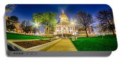 Topeka Kansas Downtown At Night Portable Battery Charger