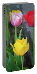 Portable Battery Charger featuring the digital art Tulips by Cristina Stefan