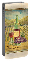 Vineyard Pinot Noir Grapes N Wine - Batik Style Portable Battery Charger by Audrey Jeanne Roberts
